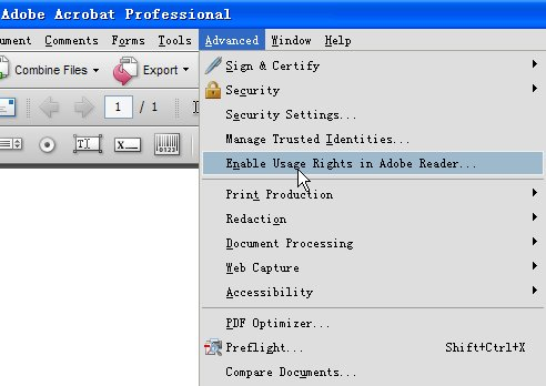 "Screenshot of ""Enable usage Rights in Adobe Reader"""